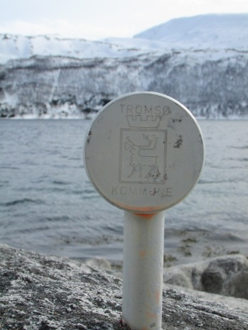 Tromsø kommune coat of arms out in the middle of nowhere