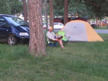 relaxing by the tent